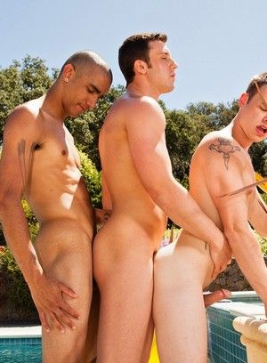Joey Hard, Jake Farren, Hardcore, Outdoor, Threesome, Twink, Poolside Sex