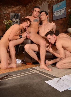 Luke Tyler, Oscar Roberts, Jack Green and Casper Ellis fuck each other