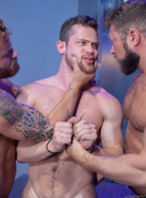 Johnny Ryder and  Riley Mitchel fucks Kurtis Wolfe