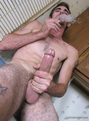 Duke smokes and strokes his hard cock!