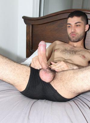 Adam Breeze strokes his hard dick