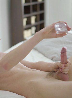 Josef Moravec strokes his uncut cock