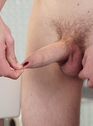 Chad Jomstone shows off his uncut cock