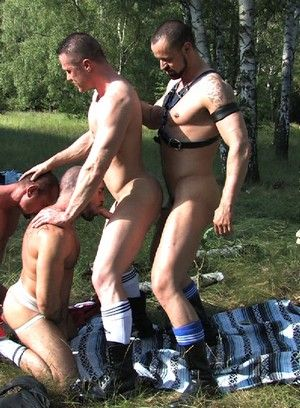 Cock-addicted gay threesome and DP