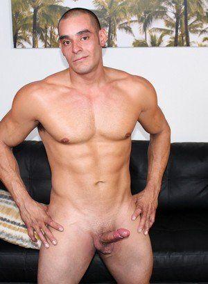 Max strokes his hard cock