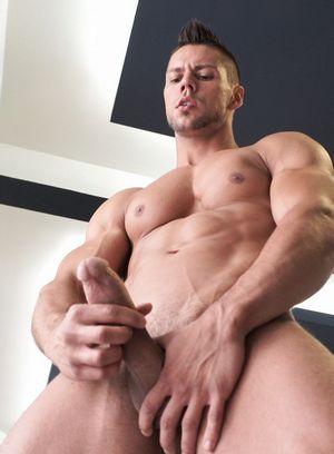 Angelo Godshack strokes his hard cock
