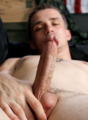 Brett Armstrong plays with his big dick