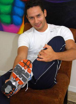Alex shows off his sneakers and socks