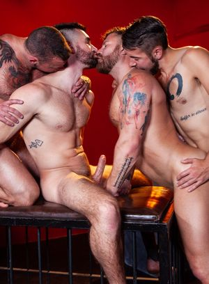Woody Fox, Sean Duran, Riley Mitchel and Dante Colle suck and fuck