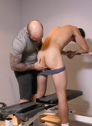 Naughty hunk John spreads his slender legs for his daddy