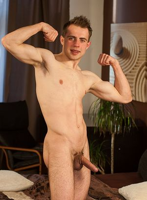 Petr Ujen plays with his hard dick