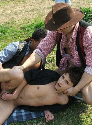 Two cowboy raiders rob, fuck and feed cute guy