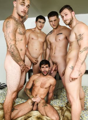Allen Lucas, Axel Kane, Brian Michaels, Nicolas Ryder and Ty Mitchell suck and fuck