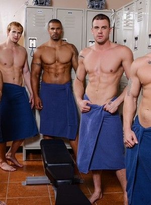 Adam Bryant, Cameron Foster, Darin Silvers, Robert Axel, Anal, Blond, Tattoos, Locker Room, Group Sex, Blowjob, Black, Orgy