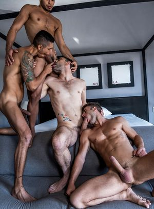 Max Arion, Allen King, Rico Marlon and Max Avila suck and fuck
