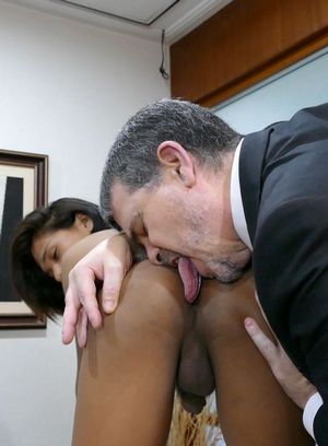 Cleaning guy with rich mature man