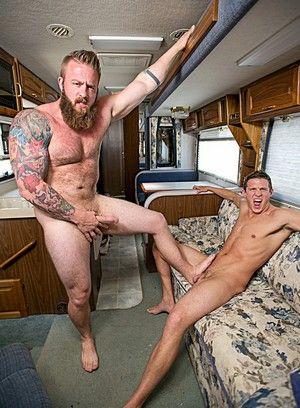 Aaron Bruiser, Alexander Motogazzi, Anal, Blowjob, Outdoors, Big Dick, Bear