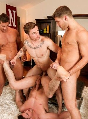 Markie More, Derrick Dime, Bridger Watts, Rod Peterson, Anal Sex, Bareback, Blowjob, Fraternity, Jock, Orgy